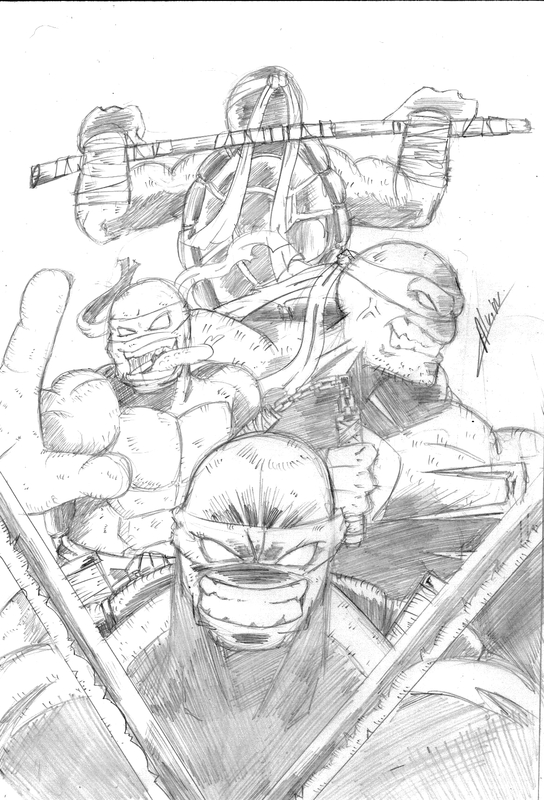 tortues ninja dessin en noir et blanc
